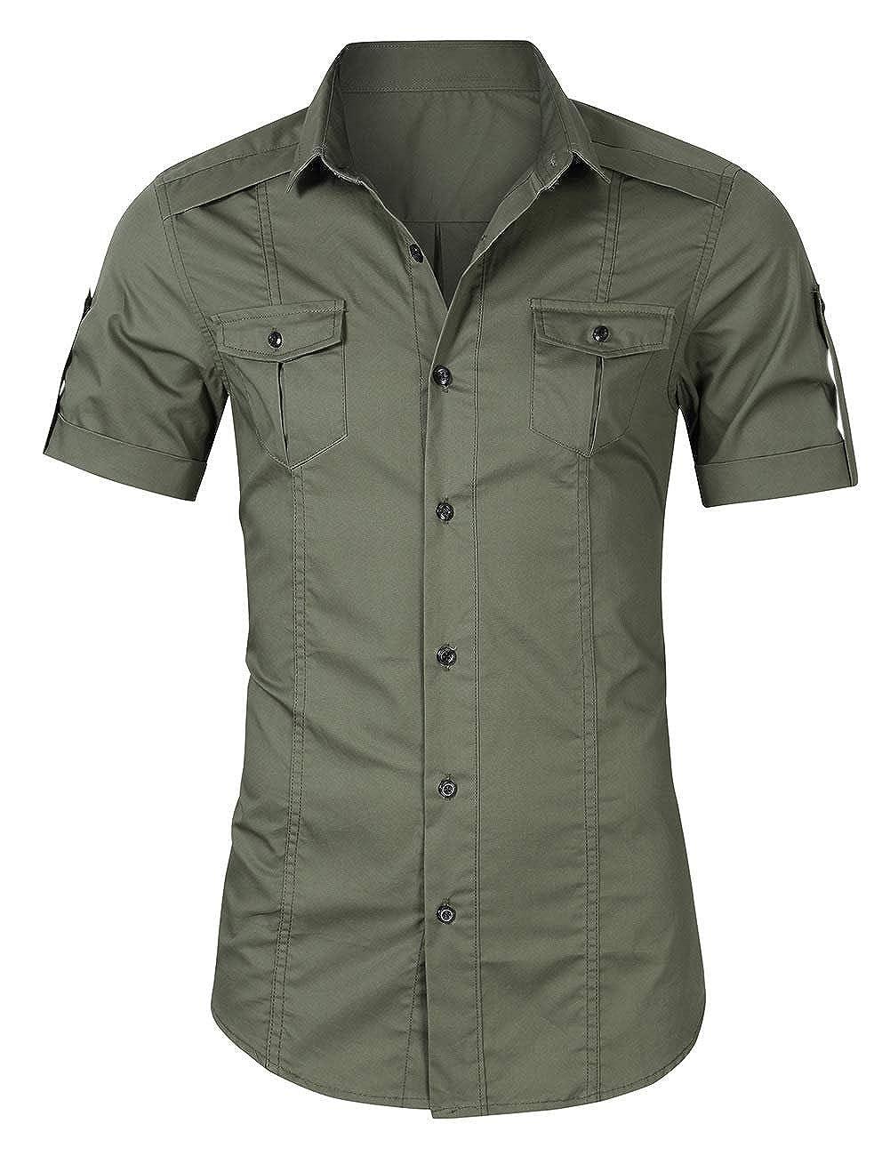 X-Future Men Loose Short Sleeve Outdoor Dress Shirt Plus Size Cargo Work Shirt