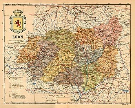 Antiqua Print Gallery Leã N. Leon. Castilla y Le n. Mapa Antiguo de la Provincia. Alberto Martin c1911: Amazon.es: Hogar