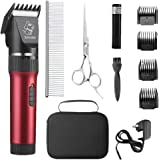 Sminiker Low Noise Cat and Dog Clippers Rechargeable Cordless Pet Clippers Grooming Kit with Storage Bag 5 Speed…