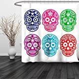 HAIXIA Shower Curtain Day Of The Dead Skull Oriental Mexican Sugar for Festive 3 Queen Full Purple Fuchsia Indigo Turquoise Green