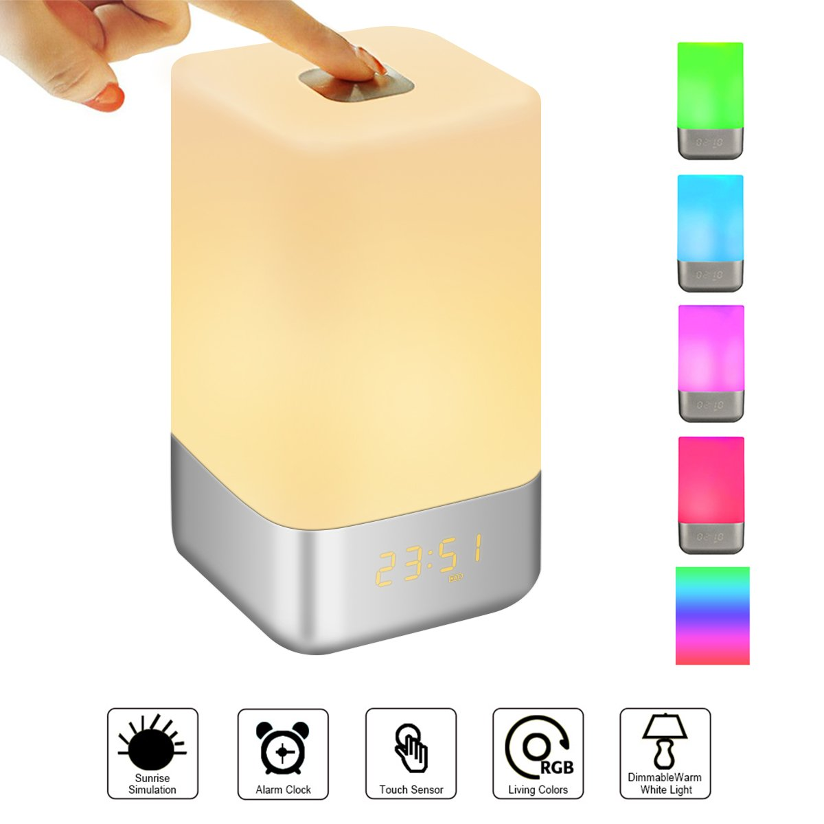 GLIME Wake Up Light Alarm Clock with Sunrise Simulation LED Light Clocks for Bedrooms 7 Colors Changing Night Light 5 Natural Sounds USB Rechargeable Kids Beside Touch Lamps for Best Gifts