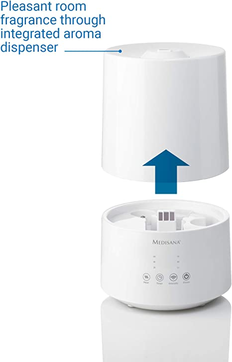 Medisana AH 661 Humidificador ultrasónico, purificador de aire para dormitorio y sala de estar, nebulizador con ...