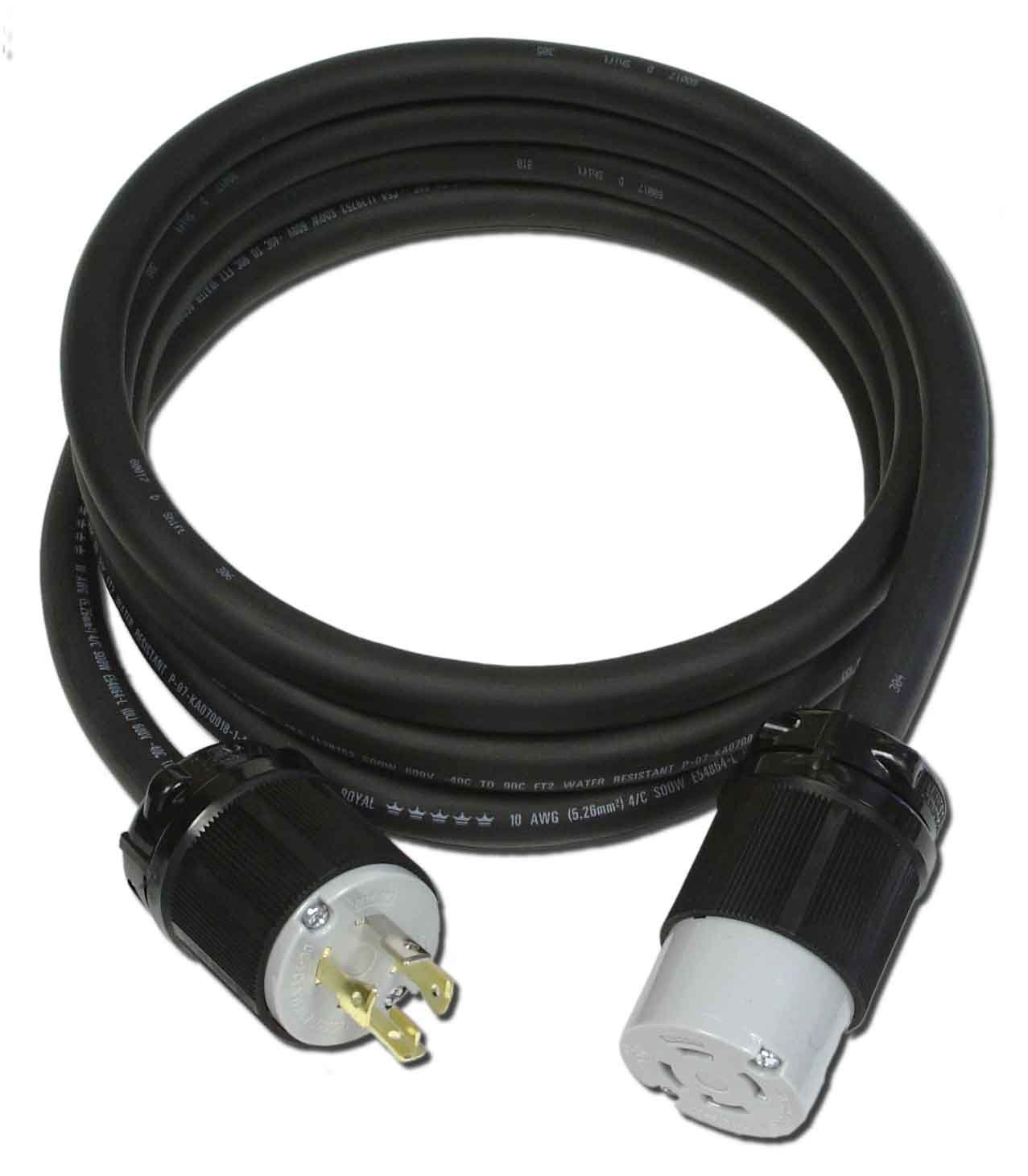 Powertronics Connections NEMA L14-30 15' cord 15-Feet 30-Amp L14-30 Generator Power Cord for Up to 7,500-watt Generators