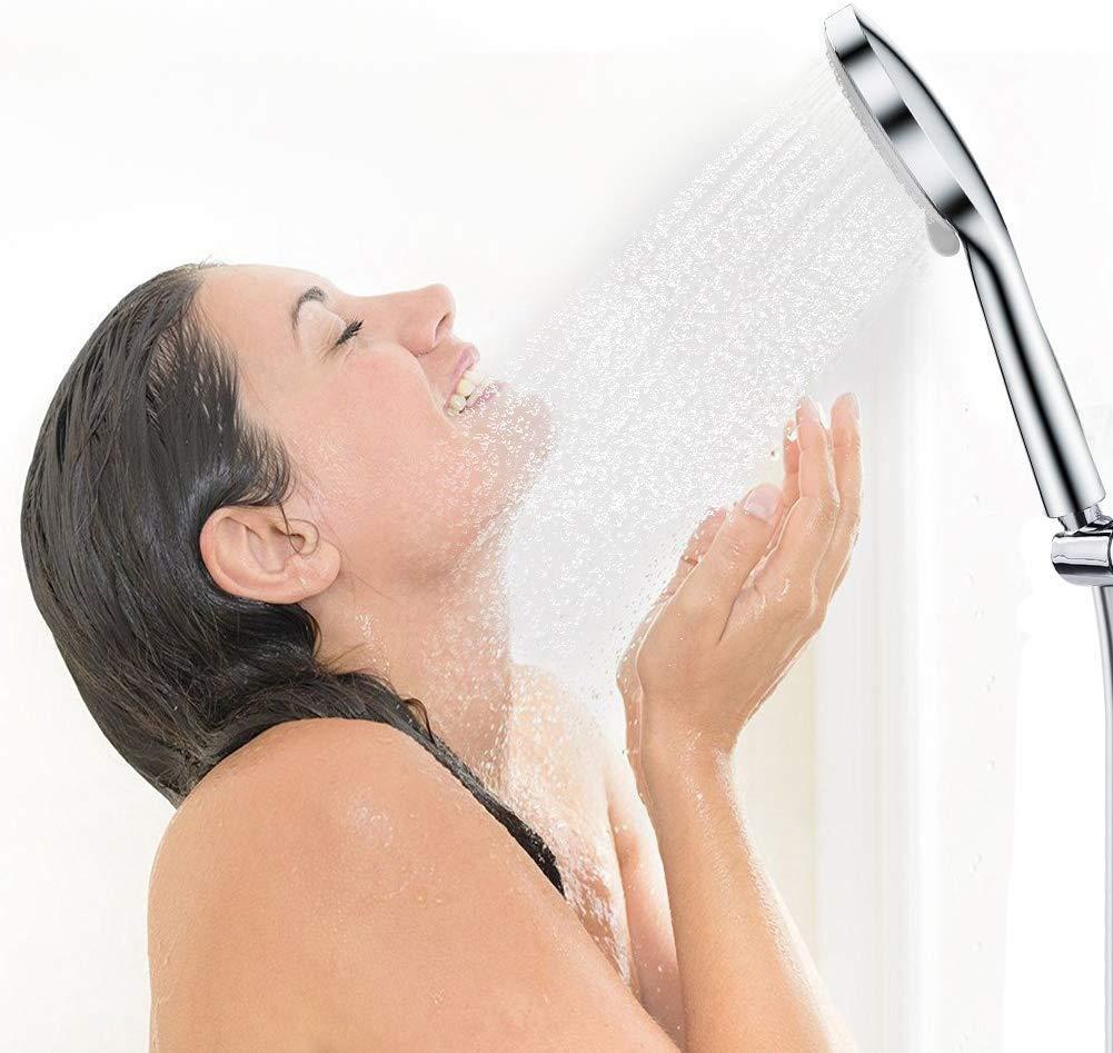 Ducha de mano three-function Spa de lujo de alta presi/ón alcachofa de ducha antical autolimpieza masaje Spa ducha de mano ABS cromado