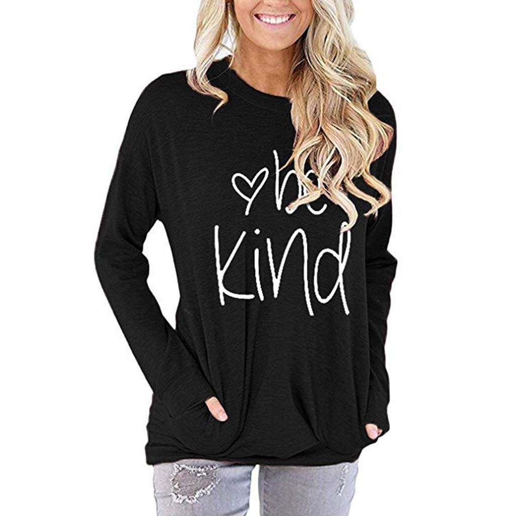 Jentouzz Women Girls Fashion T Shirt Letter Printed Be Kind Tees Casual Long Sleeve O-Neck Tops with Pockets