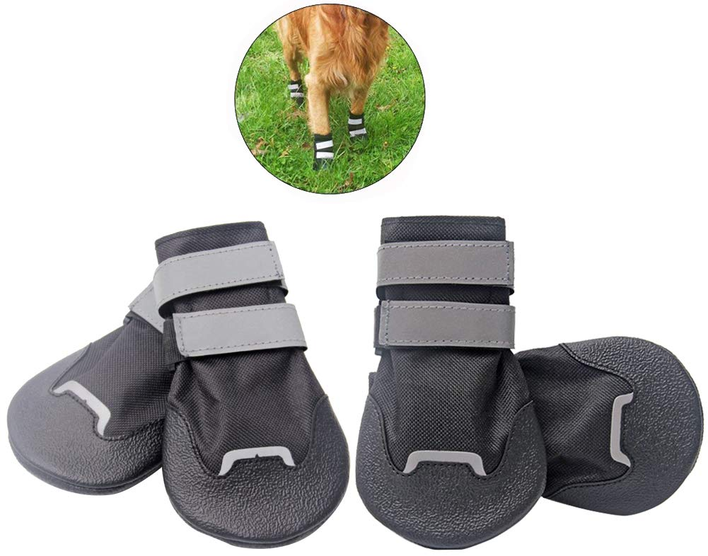 Black Small (4.9x3.1 in) Black Small (4.9x3.1 in) Morezi Ultrathin Waterproof Pet Paw Predectors Dog Boots Reflective Straps Cushion Cotton Pad Soft Sole Middle Large Dogs S