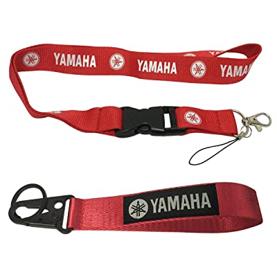 Ewein 1pc Red Lanyard + 1pc Wristlet Keychain Key Ring Embroidered Logo Motorcycle Superbike Motorrad Motorsport Scooter Car SUV Truck House Keys Chain Office ID Biker Accessories Works with Yamaha: Automotive
