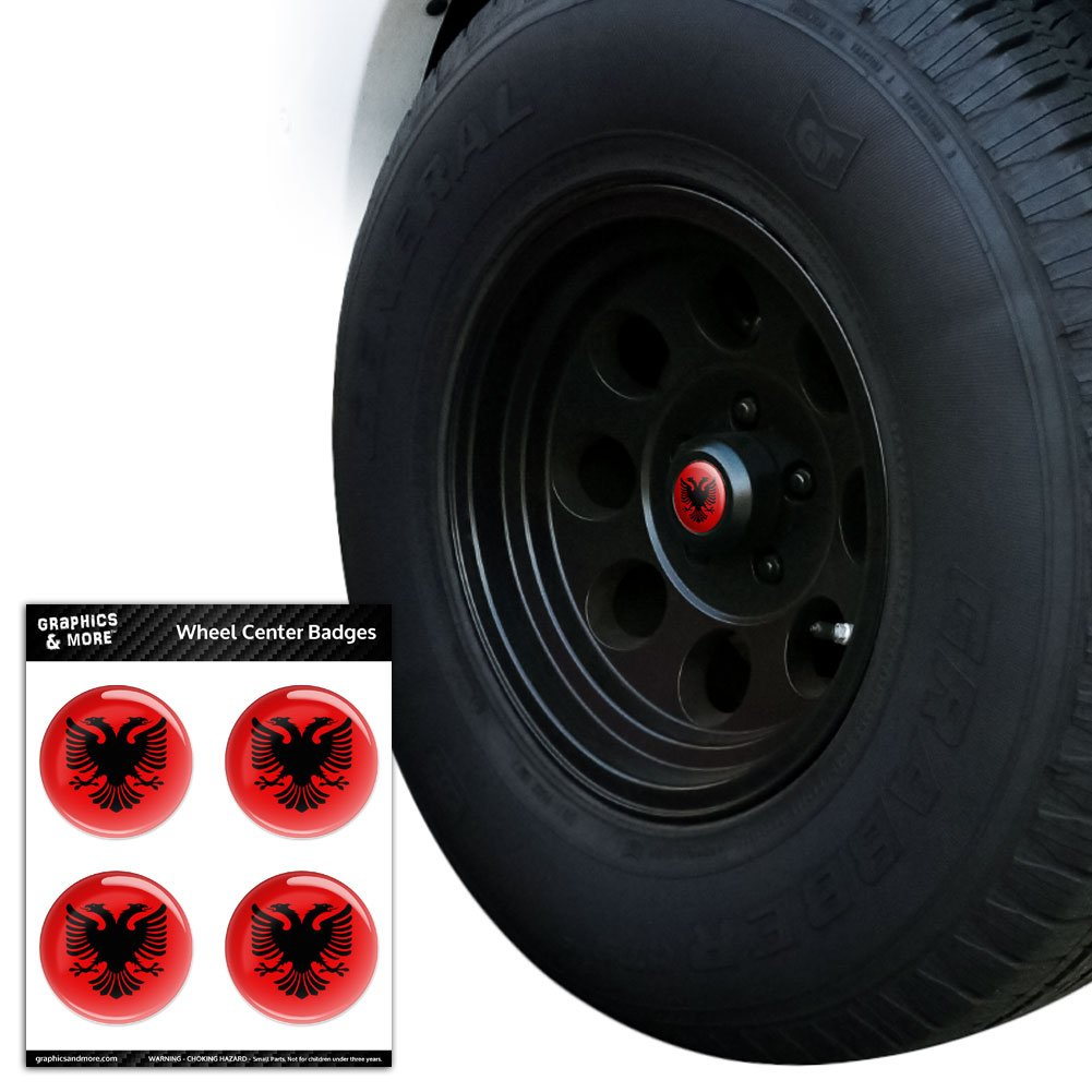 Albanian National Country Flag Tire Wheel Center Cap Resin-Topped Badges Stickers - 2.4' (6.1cm) Diameter Graphics and More