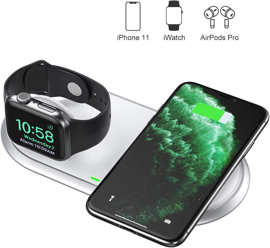CHOETECH MFi Cargador Inalámbrico Doble, 2 en 1 Wireless Charger para iWatch, iPhone, Airpods 2/Pro, 7.5W para iPhone 11/11 ProMax/SE/XS/X/8,10W para Galaxy Note 10/S20/S10/S9/S8, 5W para Teléfonos Qi
