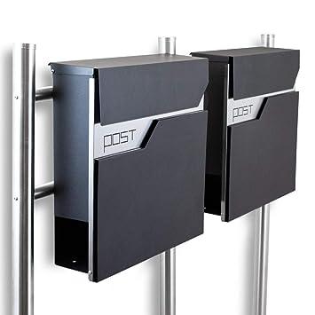BITUXX/® Design Standbriefkasten Briefkasten Briefkastenanlage Freistehender Postkasten mit Zeitungsfach Anthrazit Graphit Edelstahl