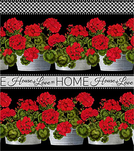 - Geranium Pots, 11-inch Border Stripe, Front Porch, Timeless Treasures, by The Yard