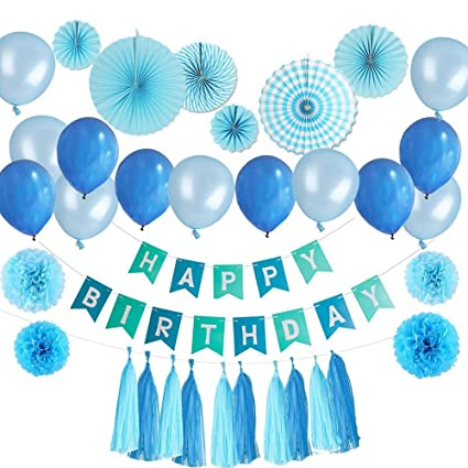 Birthday Decorations Light Blue Party Supplies Princess Balloons