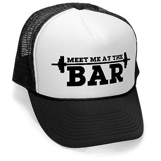 90d0f85aab7bb MEET ME AT THE BAR - weight lifting fitness Mesh Trucker Cap Hat Cap ...