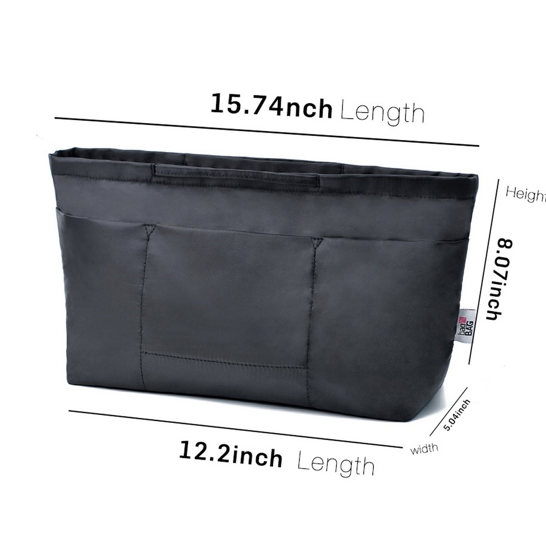 13 Pockets Purse Organizer Tote Insert Liner Bag Anti-Theft Keychain(M,Black) by BES CHAN (Image #5)