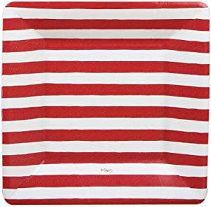 Caspari - Square Party Paper Plates, White and Red Stripes, Pack of 8