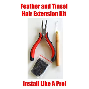 HAIR TINSEL FEATHERS EXTENSION TOOL KIT WITH 100 MICRO LINKS