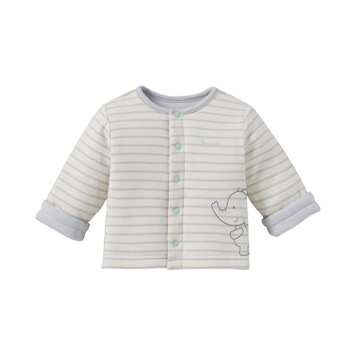 Bornino Wendejacke Mouse /& Elephant//Baby Jacke//Unisex 100/% Baumwolle//Offwhite//Light Grey