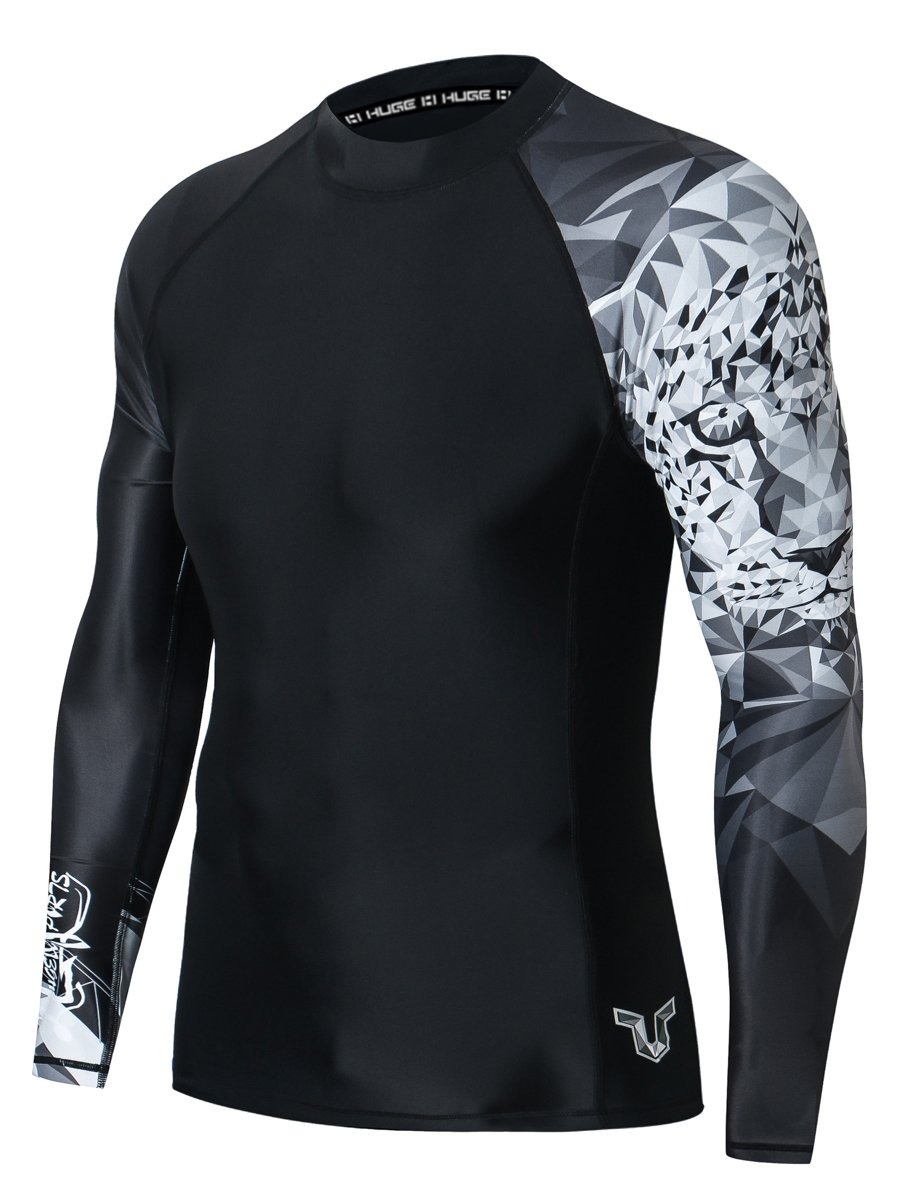 HUGE SPORTS Wildling Series UV Protection Quick Dry Compression Rash Guard (Jaguar,XS) by HUGE SPORTS