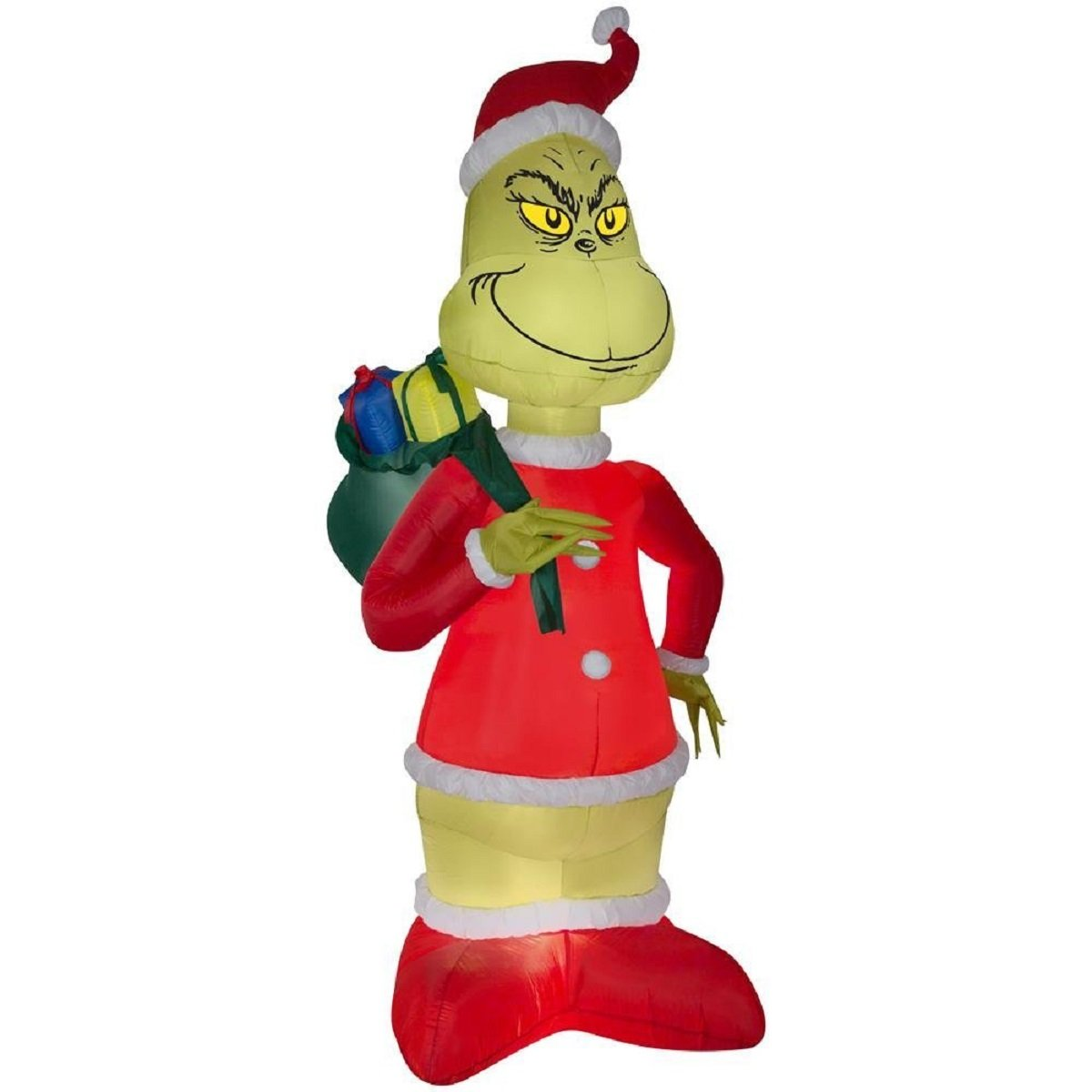 Inflatable Grinch Steals Christmas in Santa Suit with Sack 8 ft. H x 4.23 ft. W
