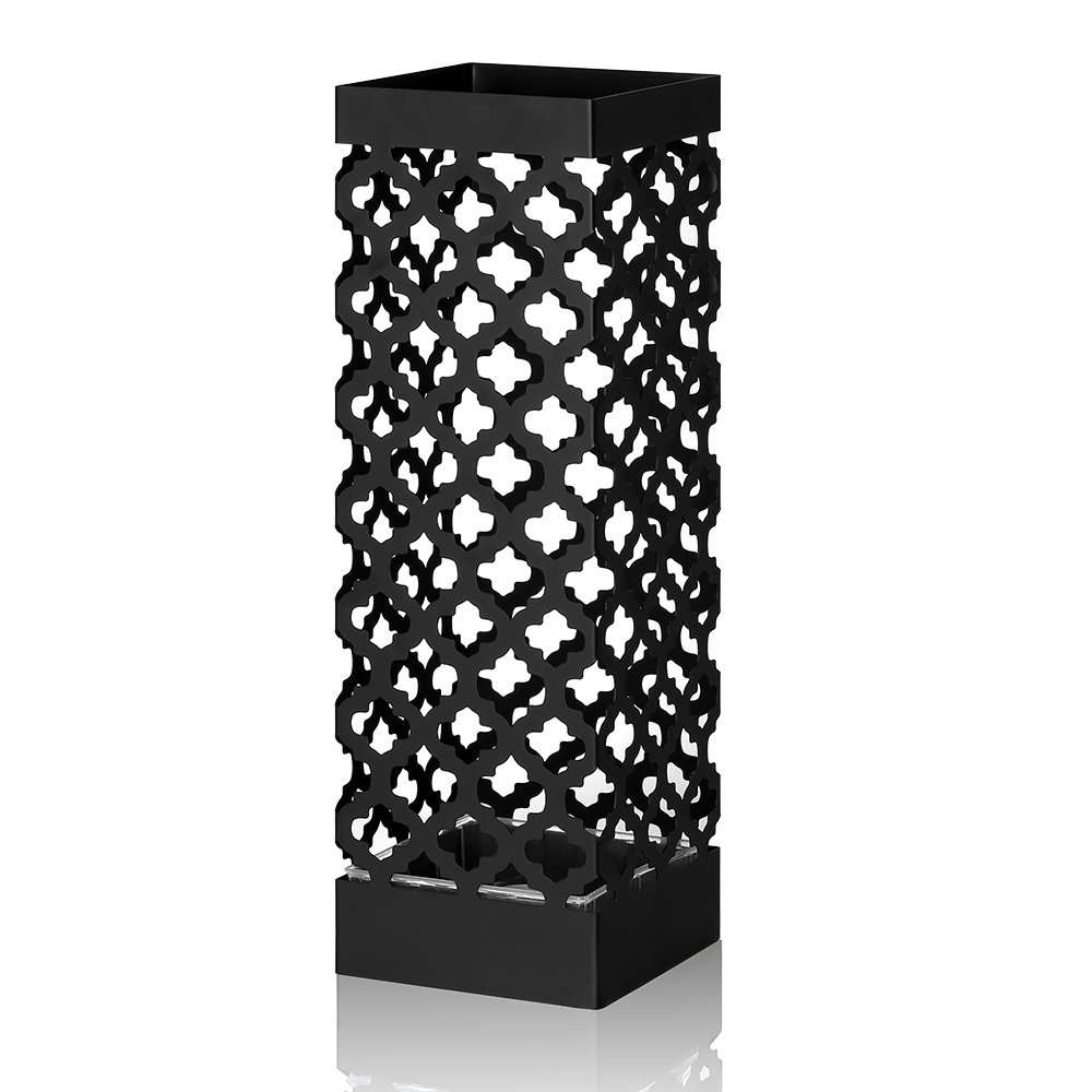 NEX Umbrella Stand Rack Metal Umbrella Holder for Home Office Decoration Drip with Tray and Hook Black by NEX