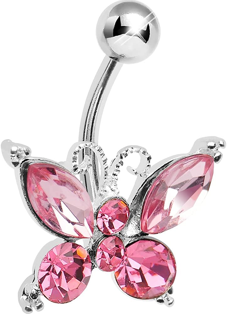 Pink Elegance Butterfly Belly Button Ring
