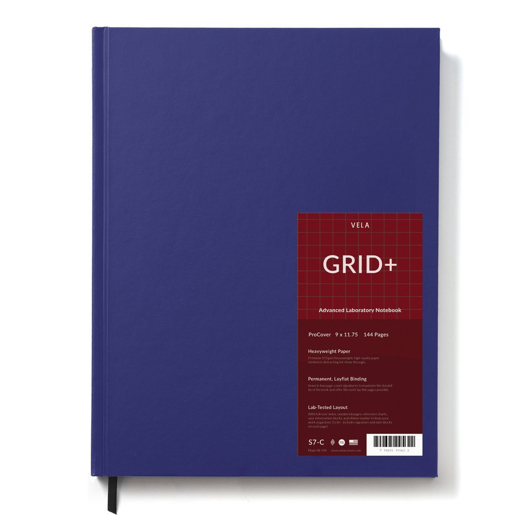 Vela Sciences Advanced ProCover, Blue, 9.25 x 11.75 inches, 144 pages (1-Pack, Grid+) by Vela Sciences