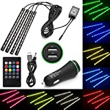 car interior led light strip - Minger USB LED Strip Light for Car,4pcs Multi-color Car Interior Music Light LED Underdash Lighting Kit with Sound Active Function and Wireless Remote Control,Dual Smart USB Ports
