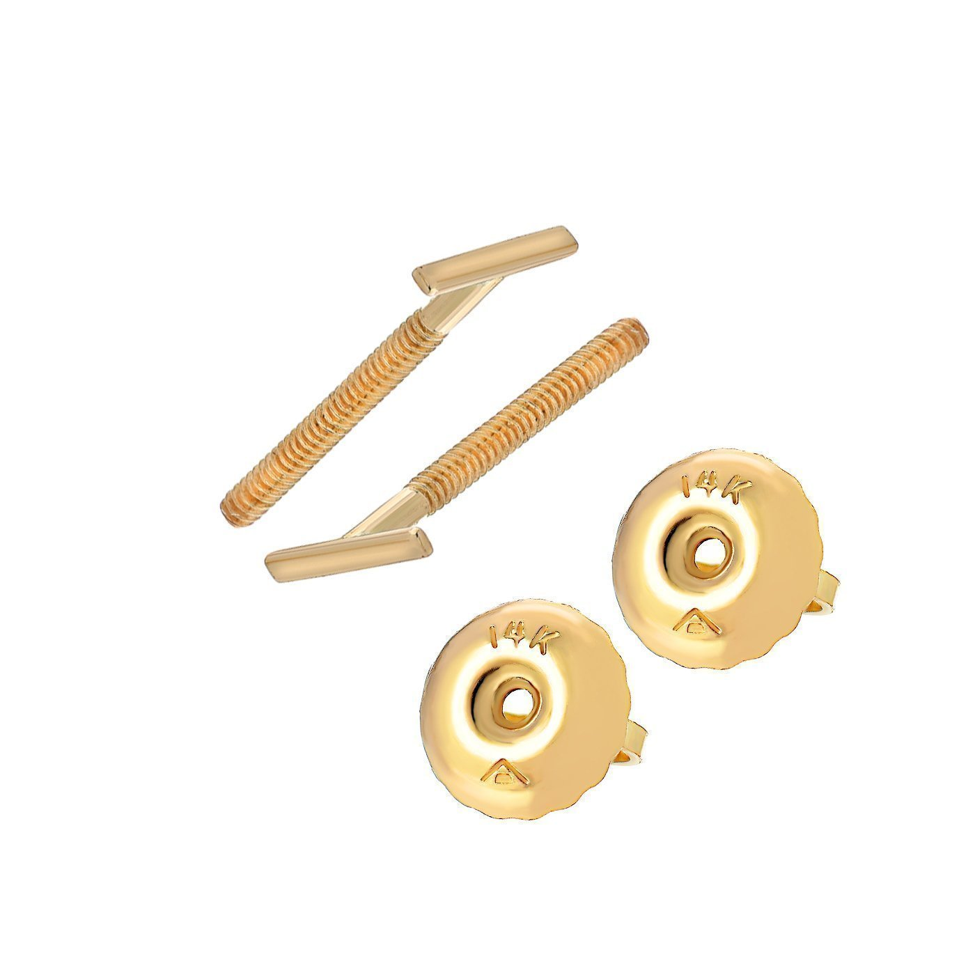 TousiAttar Line Stud Earrings Small Unique Jewelry for Womens Extremely Tiny Bar Studs Earring with Screw Back 14k Yellow Gold Hypoallergenic for Sensitive Ears