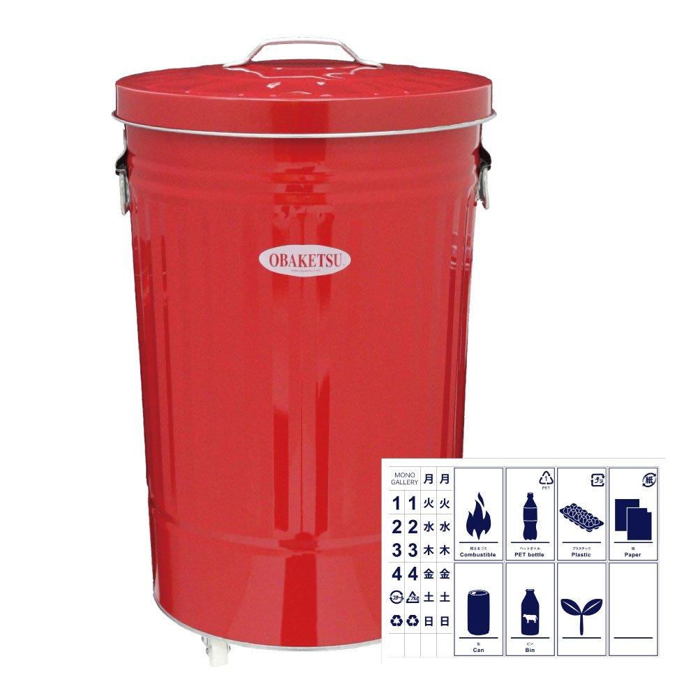 OBAKETSU 42L カラー キャスター付き + 分別ステッカー 【2点セット】 ゴミ箱 ごみ箱 ダストボックス おしゃれ ふた付き オバケツ 渡辺金属工業 CRK45 (レッド) B074NZCR81 レッド レッド
