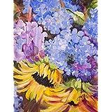 Hydrangeas and Sunflowers Flag Canvas House Size JMK1175CHF