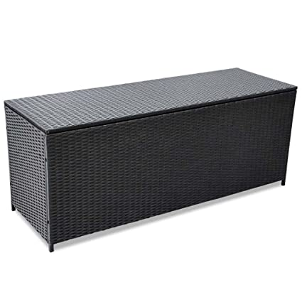 BestHomeFuniture Patio Outdoor Poly Rattan Desk Storage Box, Patio Porch  Cushion Pillow Storage