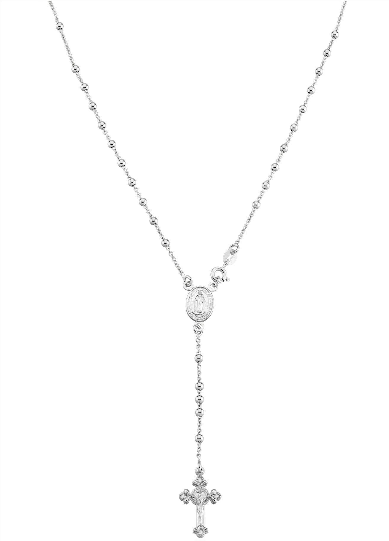 Miabella 925 Sterling Silver Italian Rosary Bead Cross Y Necklace Chain for Women Men, 20 inch by Miabella