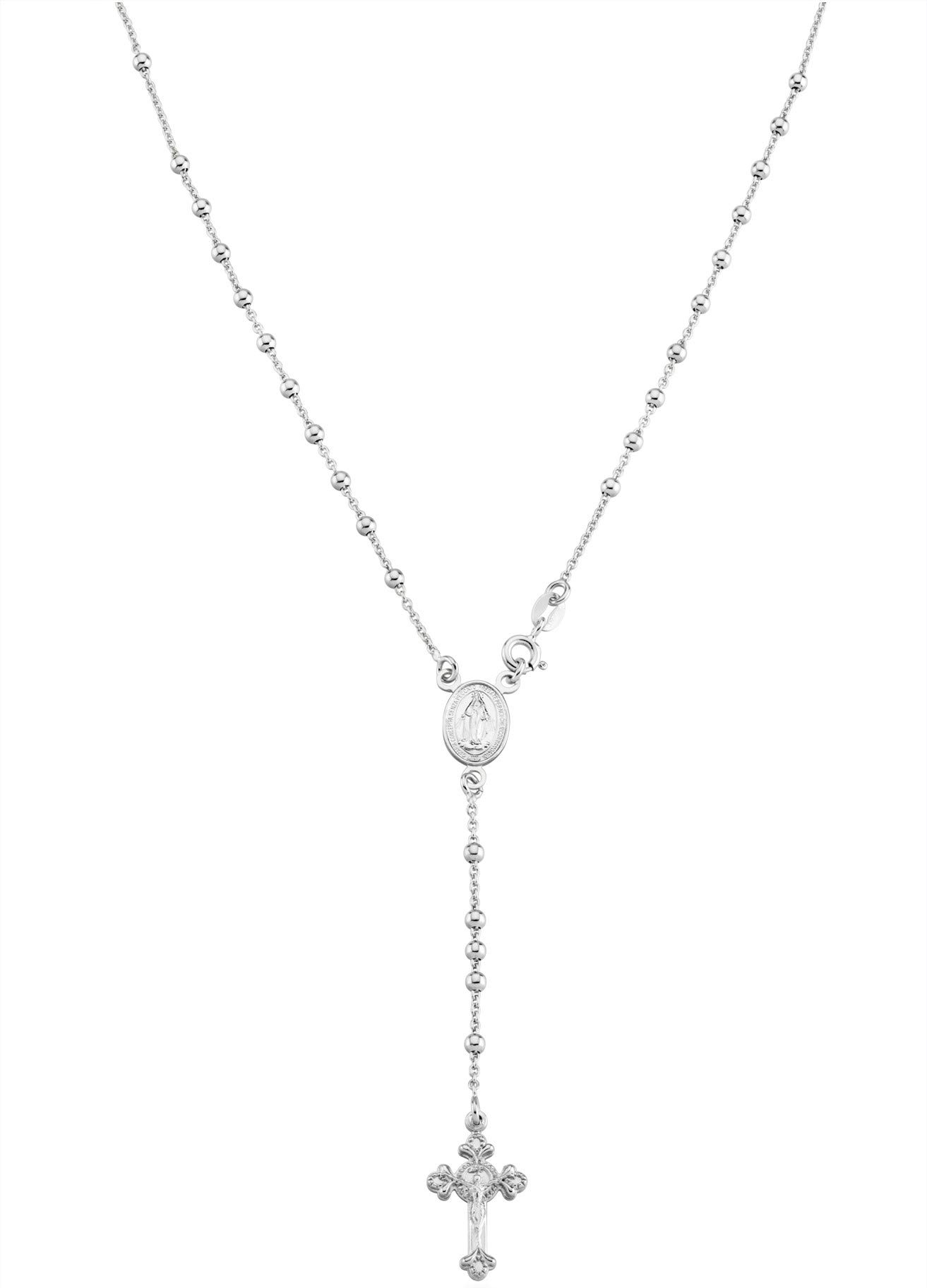Miabella 925 Sterling Silver Italian Rosary Bead Cross Y Necklace Chain for Women Men 20 Inch