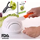 FabQuality premium Salad Cutter Bowl, Vegetable Cutter Bowl - Make Your Salad in 60 Seconds with Bonus Ebook and Peeler included
