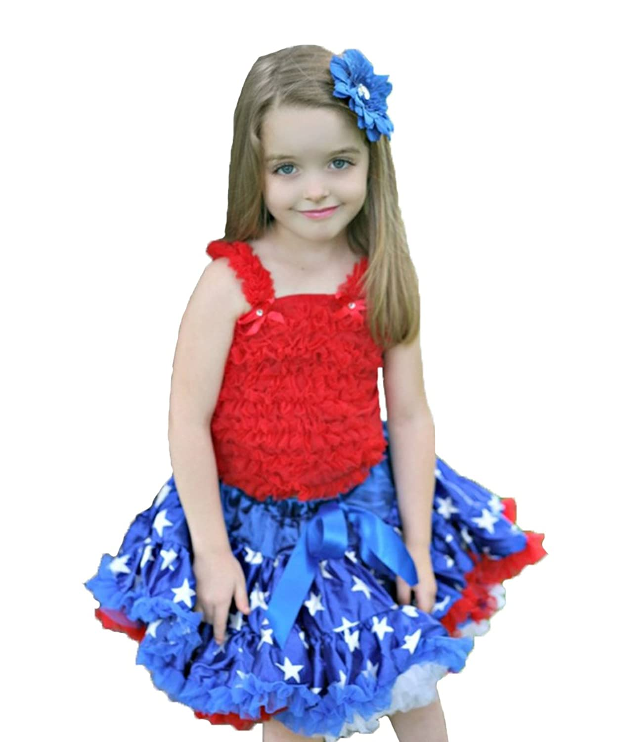 4th July Red Ruffle Top Royal Blue Patriotic Star Pettiskirt Outfit Girl 1-8y