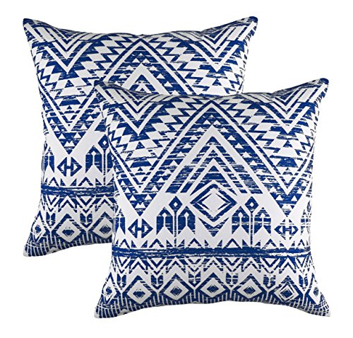 TreeWool (Pack of 2 Throw Pillowcase French Accent Decorative Cotton Cushion Cover (18 x 18 Inches / 45 x 45 cm; Navy Blue) by TreeWool
