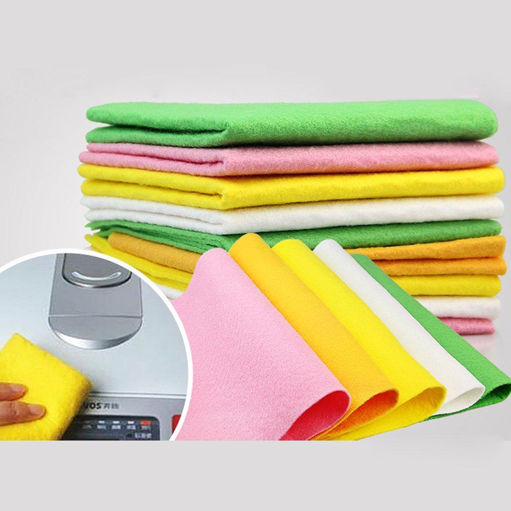 Malicosmile Microfiber Kitchen Dish Cloths Towel, Absorbent Antibacterial Non Mildew Odorless Bamboo & Loofah Fiber Dishcloth Cleaning Cloths Set 12Pcs (Pink, Green, Yellow Color Random)