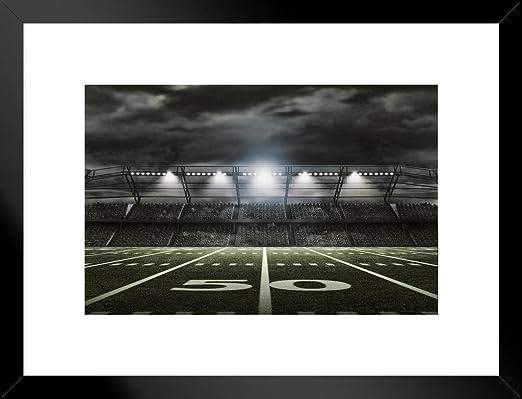 American Football Stadium Rendering 50 Yard Line Framed Poster 20x14 inch