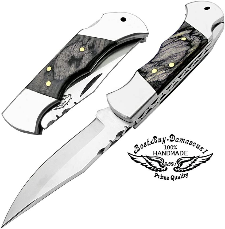 Best.Buy.Damascus1 OTF Knives Double Action Out The Front Safety Knife 440c Steel Brass Keychain Oak Wood Stainless Steel Brass Bloster Folding Pocket Knife Black Wood Custom 5.5 Pocket Knife