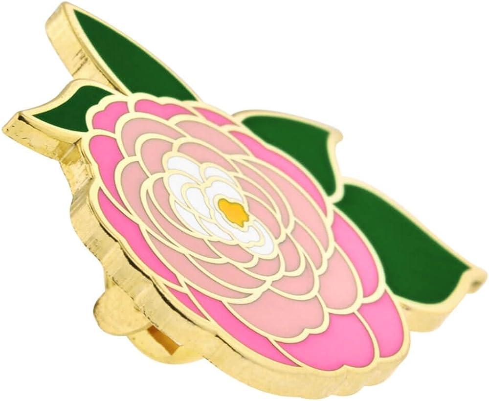 PinMart Pink Peony Flower Boutonniere Cute Trendy Enamel Lapel Pin