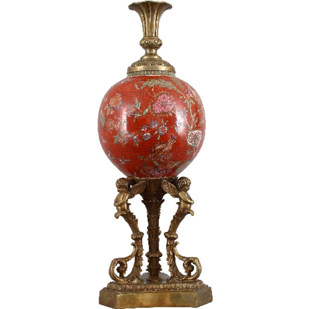 Home decor. Red and Gold Pedestal Cherub Vase. Dimension: 9 X 9 X 26. Pattern: Monkey King.
