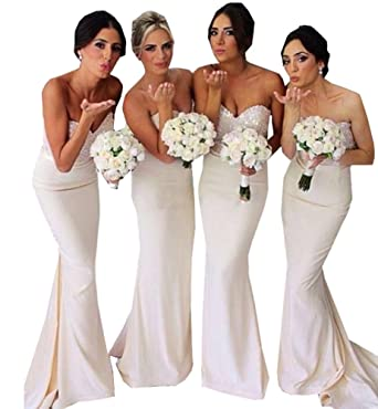 Half Flower Bridal Backless Lace Prom Gown Sweetheart Mermaid Bridesmaid Dress Style 4 Ivory US2