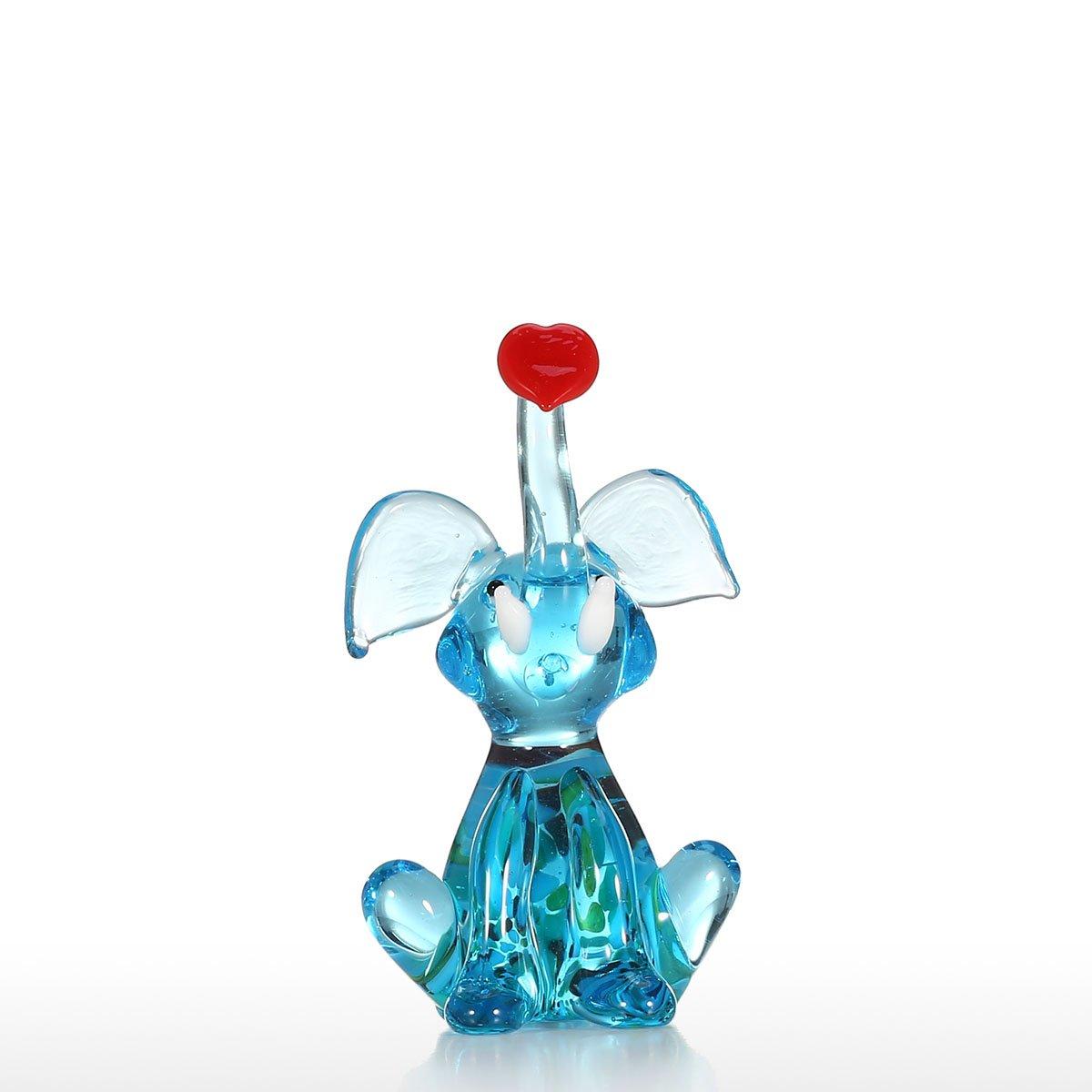 Tooarts Mini Elephant Handmade Sculpture Hand Blown Glass Art Wild Animal Figurine Collectible