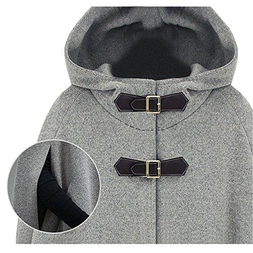 Petalum Parka Suit Shawl Cape Buttons Winter Coat Warm Elegant Jacket Hoodie Autumn Grey Woman Coat Windbreaker rATrqU