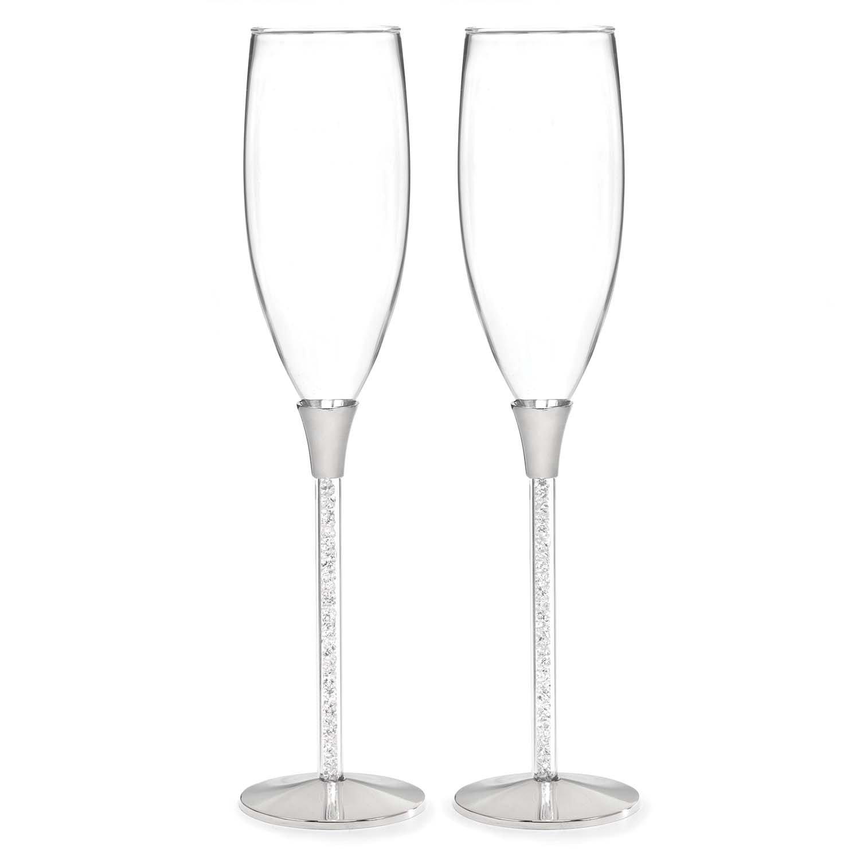 Hortense B. Hewitt Wedding Accessories Glittering Beads Champagne Flutes, Set of 2 10053