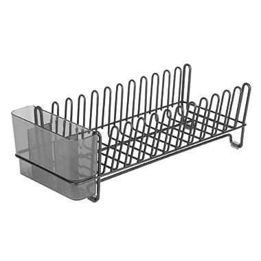 InterDesign Kitchen Rack for Drying Glasses, Silverware, Bowls, Plates-Matte Black/Smoke Classico Compact Dish Drainer