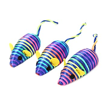 Vivianu - Juego de juguetes de ratón interactivos para gatos, hilo de seda, plumas coloridas, juguetes para masticar 2: Amazon.es: Hogar