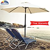 Dienspeak Updated Version 7.5 ft. Round Outdoor Beach Market Patio Umbrella with Push Button Tilt and Crank Lift (Beige(w/Cover))