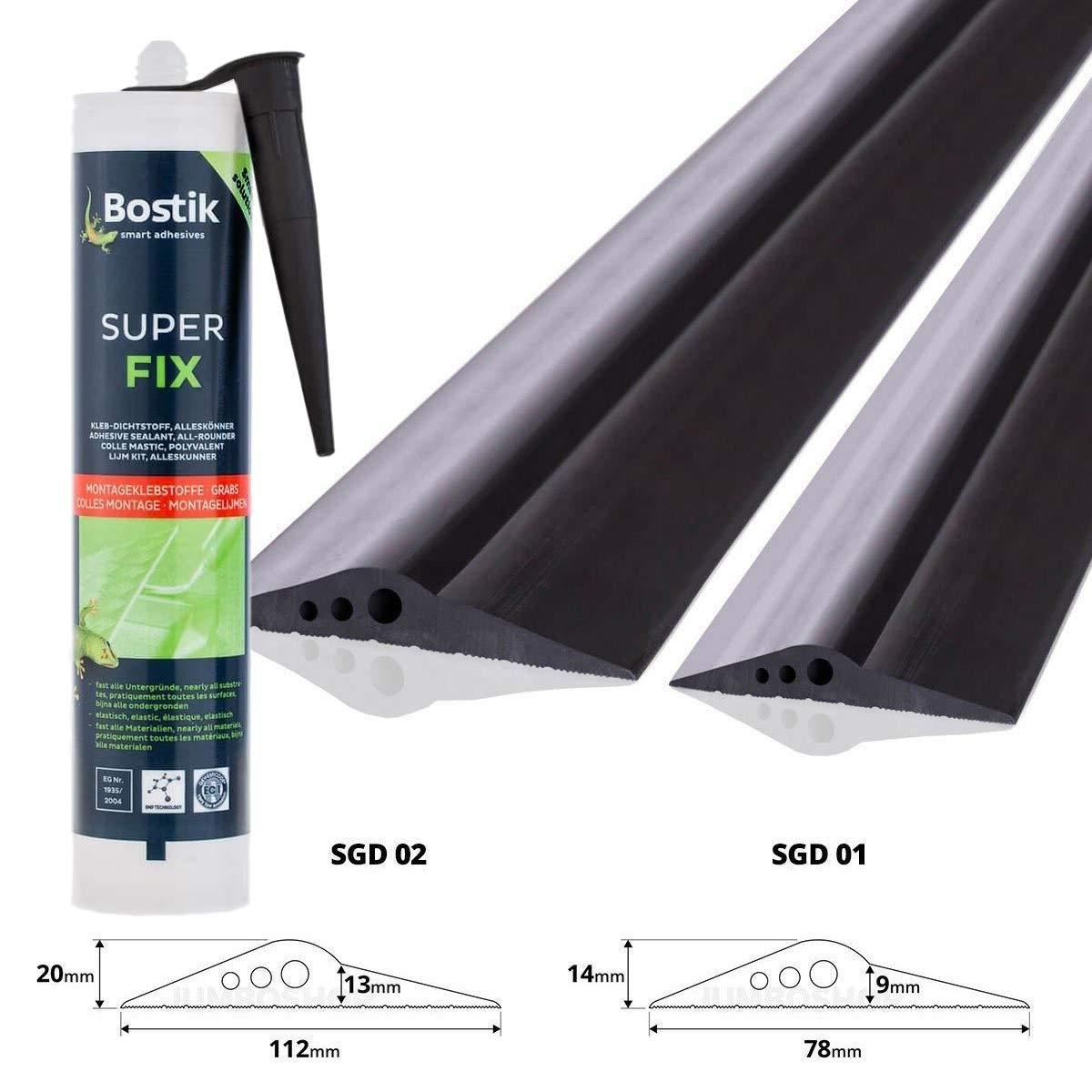 STEIGNER Garage Door Floor Seal Threshold + Adhesive Kit 1, 5 m 20 mm x 112 mm SGD02 EPDM Weather Strip Drought And Water Excluder Ramp