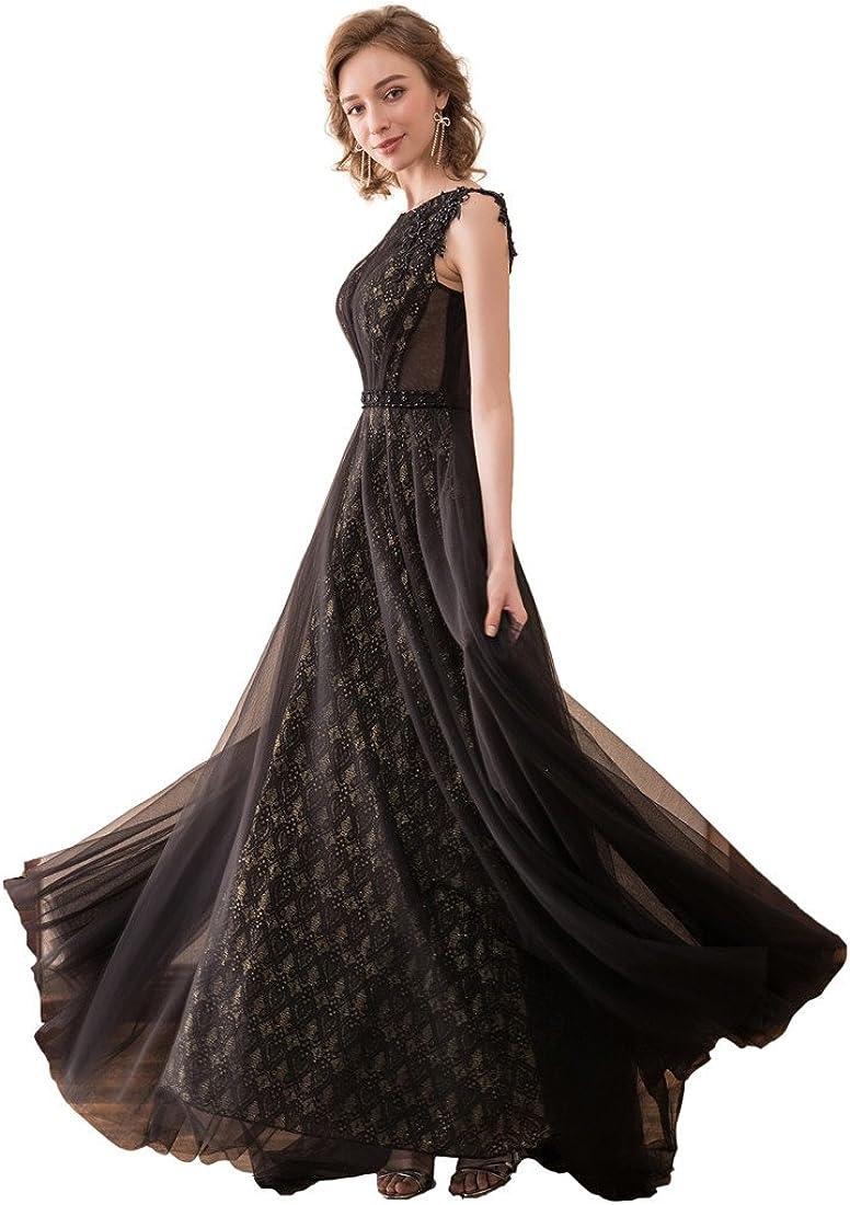 lemondress Women Sleeveless Round-Back Lace Patchwork Evening Wedding Long Dresses